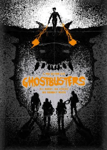 1980's Movie - GHOSTBUSTERS - INK SPLAT ART ORANGE canvas print - self adhesive poster - photo print